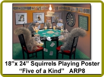 Squirrels Playing Poker Poster