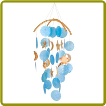Dark Blue Capiz Chime with Moons & Stars
