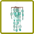 Aqua Capiz Chime with Wooden Beads