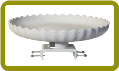 Scalloped Birdbath w/Deck Mount Gray Stone