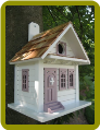 Shotgun Cottage Birdhouse White w/Lavender